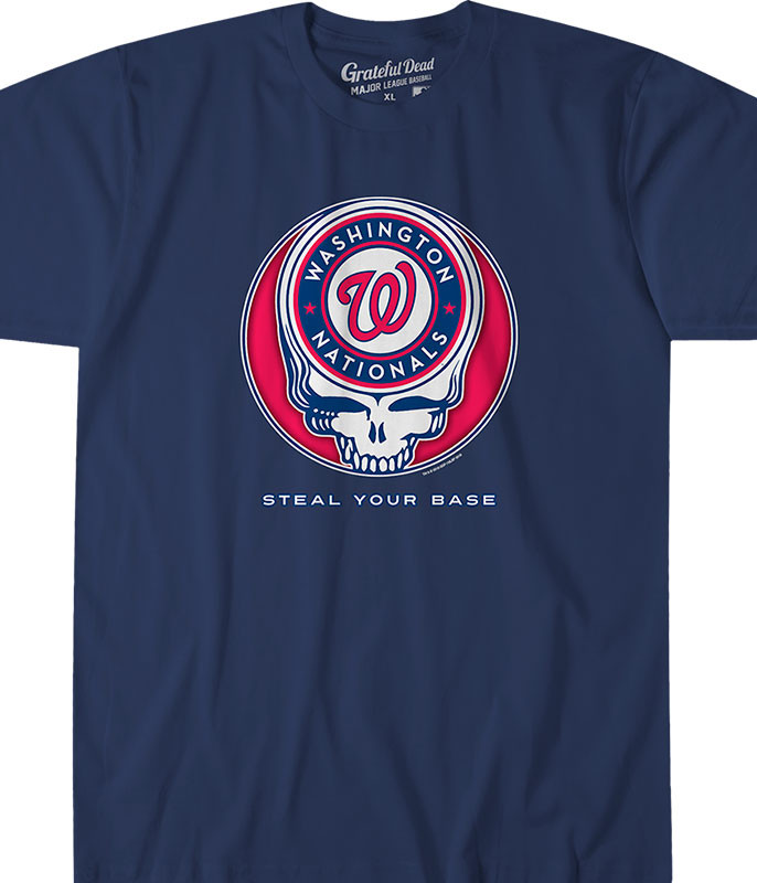 WASHINGTON NATIONALS STEAL YOUR BASE NAVY ATHLETIC T-SHIRT