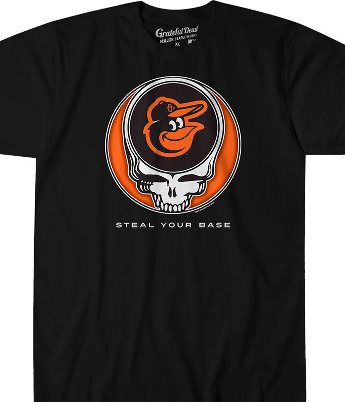 MLB Baltimore Orioles GD Steal Your Base Black Athletic T-Shirt Tee Liquid Blue