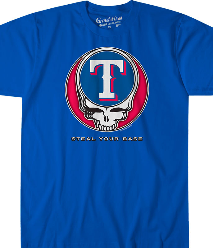 MLB Texas Rangers GD Steal Your Base Blue Athletic T-Shirt Tee Liquid Blue