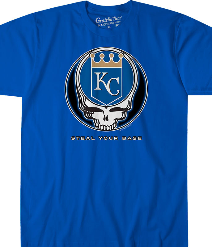 MLB Kansas City Royals GD Steal Your Base Blue Athletic T-Shirt Tee Liquid Blue