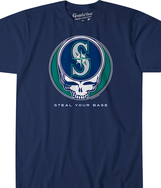 MLB Seattle Mariners GD Steal Your Base Navy Athletic T-Shirt Tee Liquid Blue