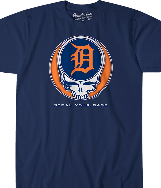Detroit Tigers Steal Your Base Navy Athletic T-Shirt