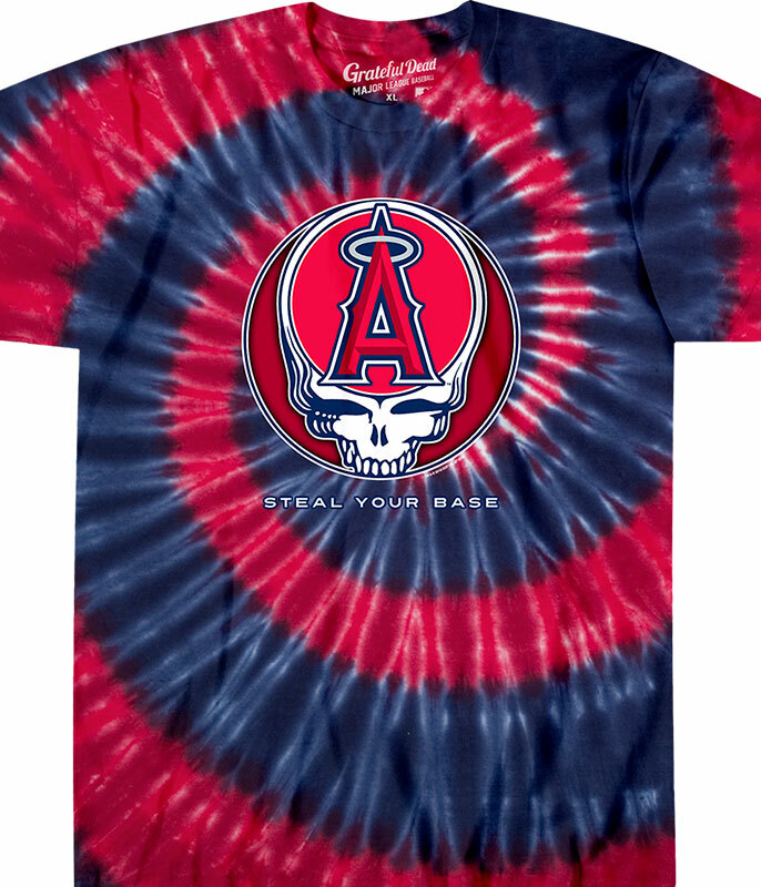 MLB Los Angeles Angels GD Steal Your Base Tie-Dye T-Shirt Tee Liquid Blue