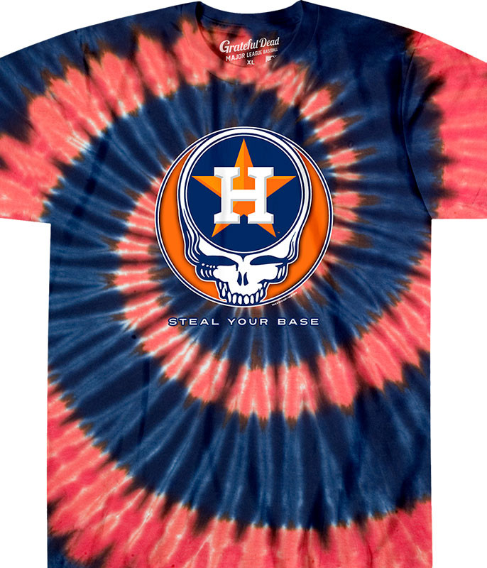 MLB Houston Astros GD Steal Your Base Tie-Dye T-Shirt Tee Liquid Blue