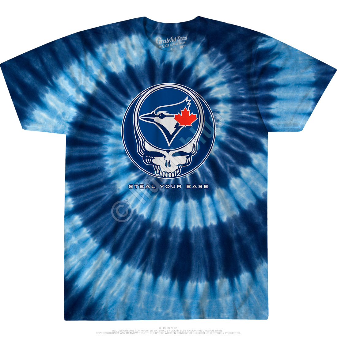 78445715 MLB Toronto Blue Jays GD Steal Your Base Tie-Dye T-Shirt Tee Liquid Blue