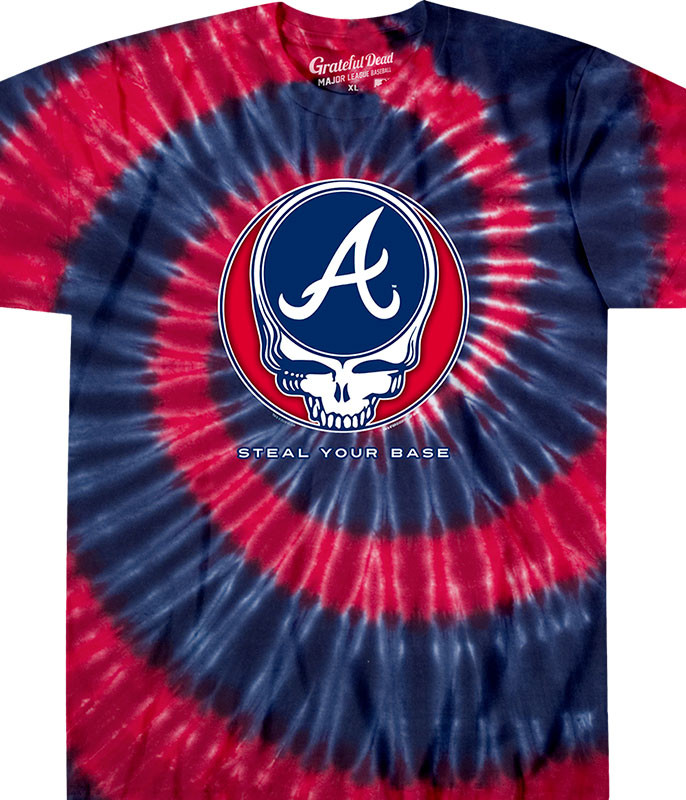 MLB Atlanta Braves GD Steal Your Base Tie-Dye T-Shirt Tee Liquid Blue