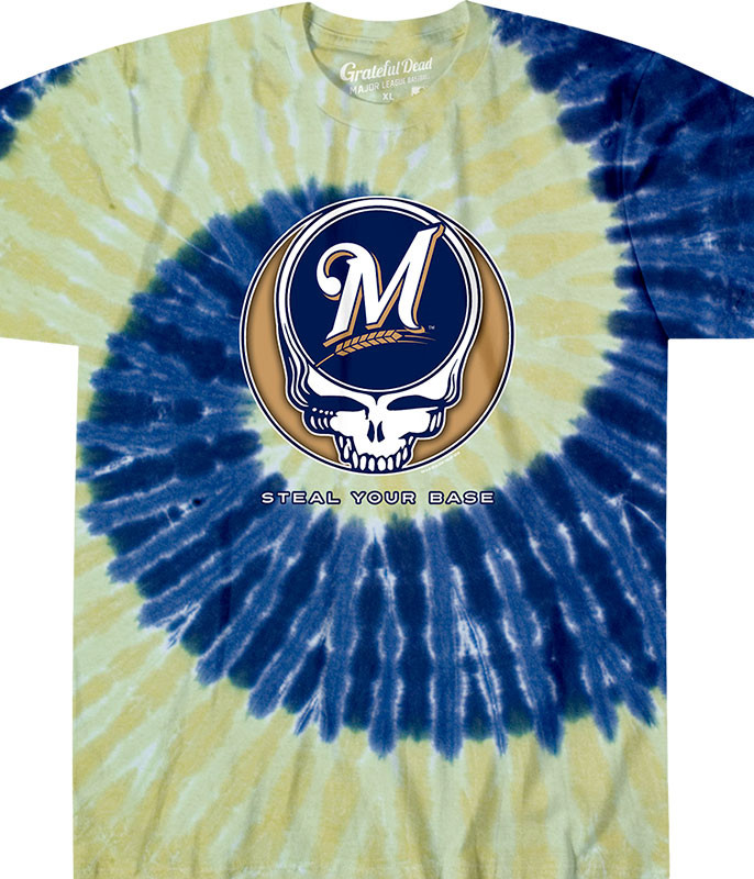 MLB Milwaukee Brewers GD Steal Your Base Tie-Dye T-Shirt Tee Liquid Blue
