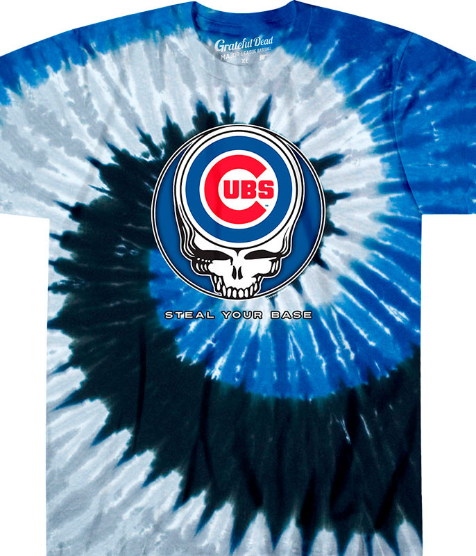MLB Chicago Cubs GD Steal Your Base Tie-Dye T-Shirt Tee Liquid Blue