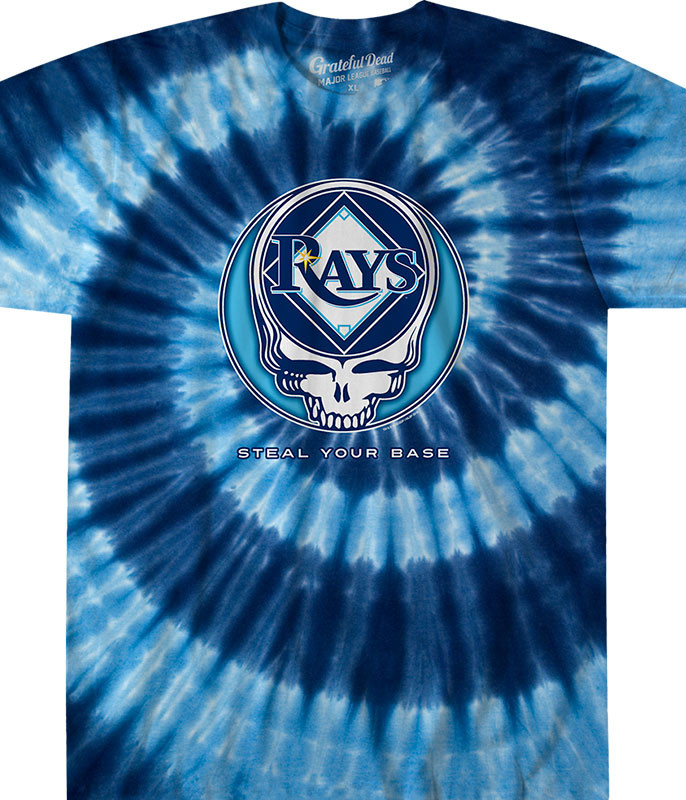 MLB Tampa Bay Rays GD Steal Your Base Tie-Dye T-Shirt Tee Liquid Blue