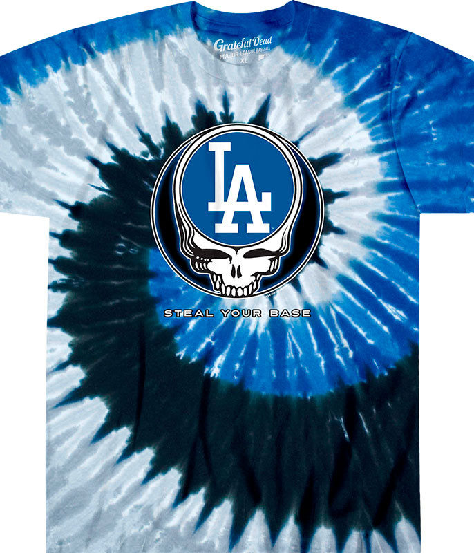 MLB Los Angeles Dodgers GD Steal Your Base Tie-Dye T-Shirt Tee Liquid Blue