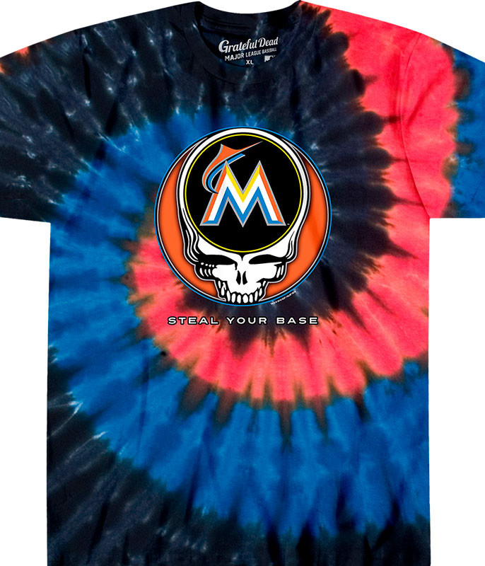 MLB Miami Marlins GD Steal Your Base Tie-Dye T-Shirt Tee Liquid Blue