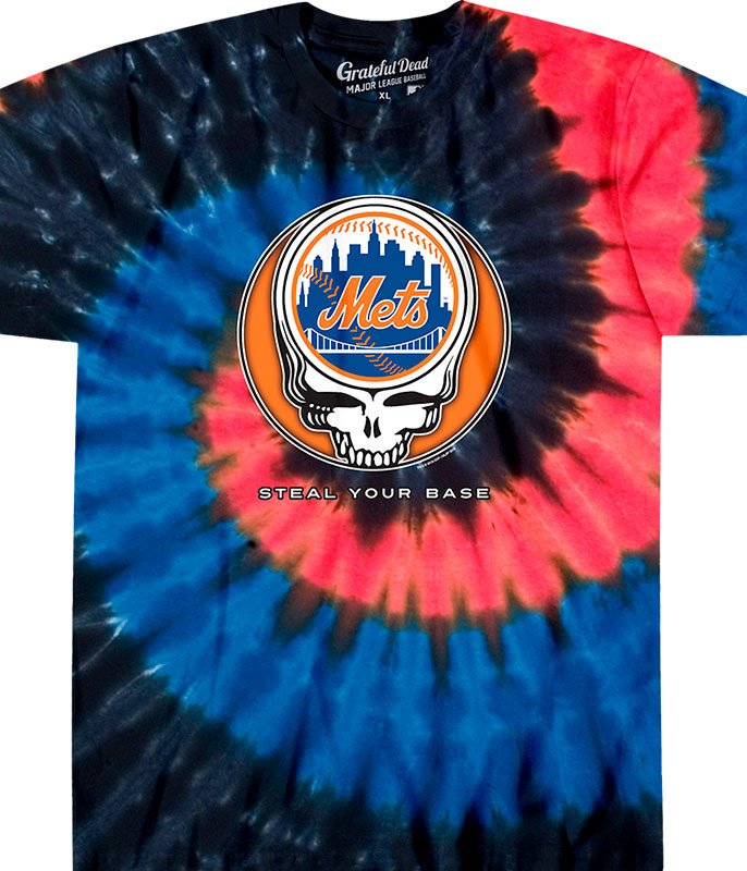 MLB New York Mets GD Steal Your Base Tie-Dye T-Shirt Tee Liquid Blue