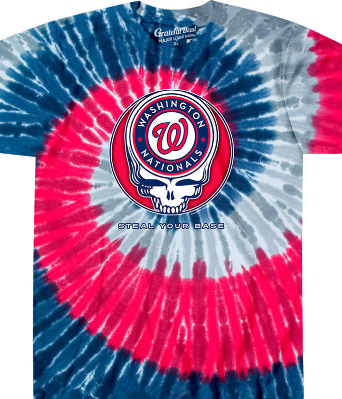 MLB Washington Nationals GD Steal Your Base Tie-Dye T-Shirt Tee Liquid Blue