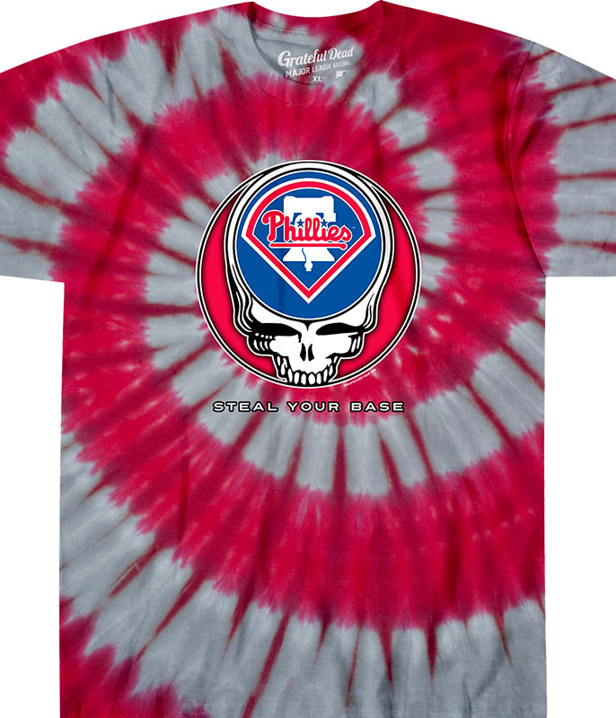 MLB Philadelphia Phillies GD Steal Your Base Tie-Dye T-Shirt Tee Liquid Blue