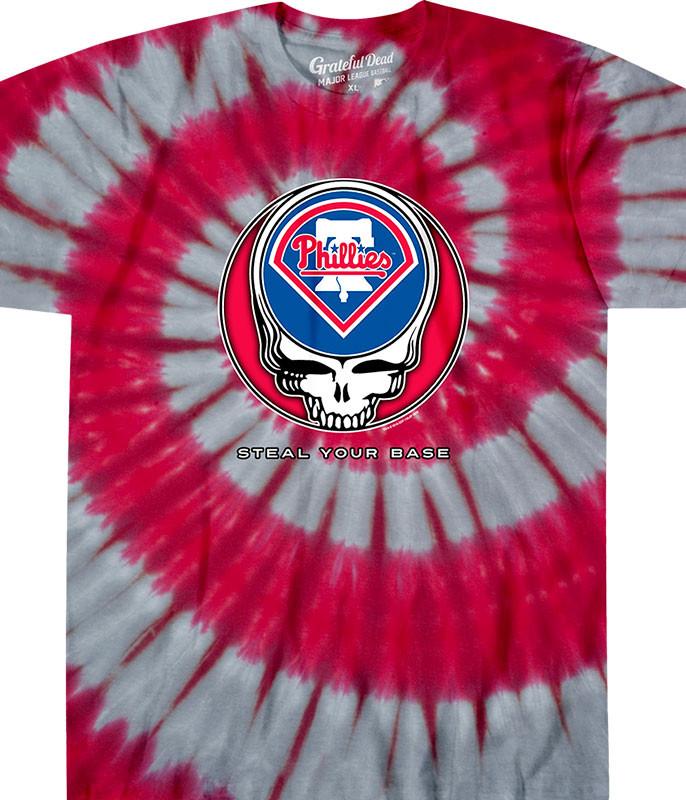 MLB Philadelphia Phillies GD Steal Your Base Tie-Dye T-Shirt Tee Liquid Blue