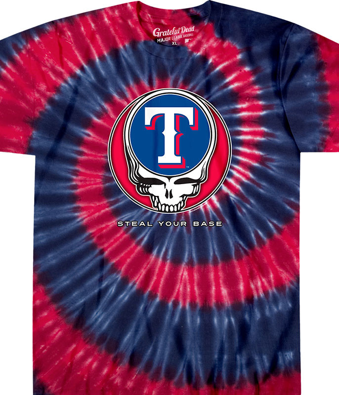MLB Texas Rangers GD Steal Your Base Tie-Dye T-Shirt Tee Liquid Blue