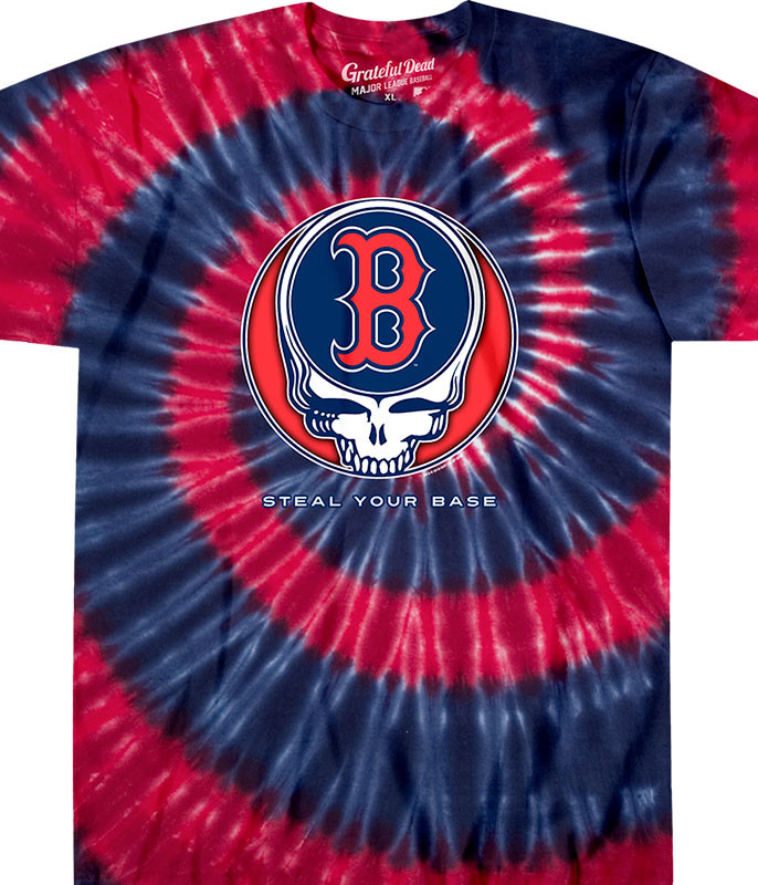 MLB Boston Red Sox GD Steal Your Base Tie-Dye T-Shirt Tee Liquid Blue