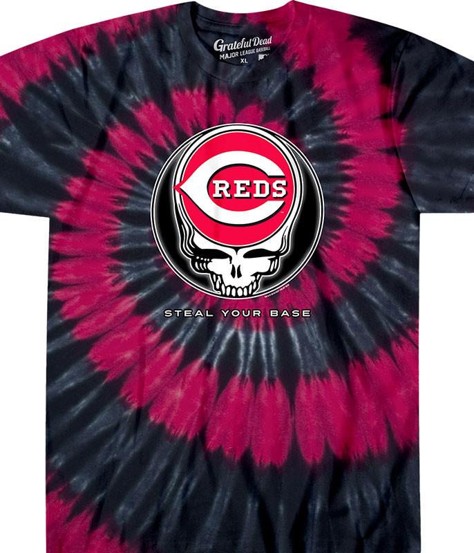 MLB Cincinnati Reds GD Steal Your Base Tie-Dye T-Shirt Tee Liquid Blue