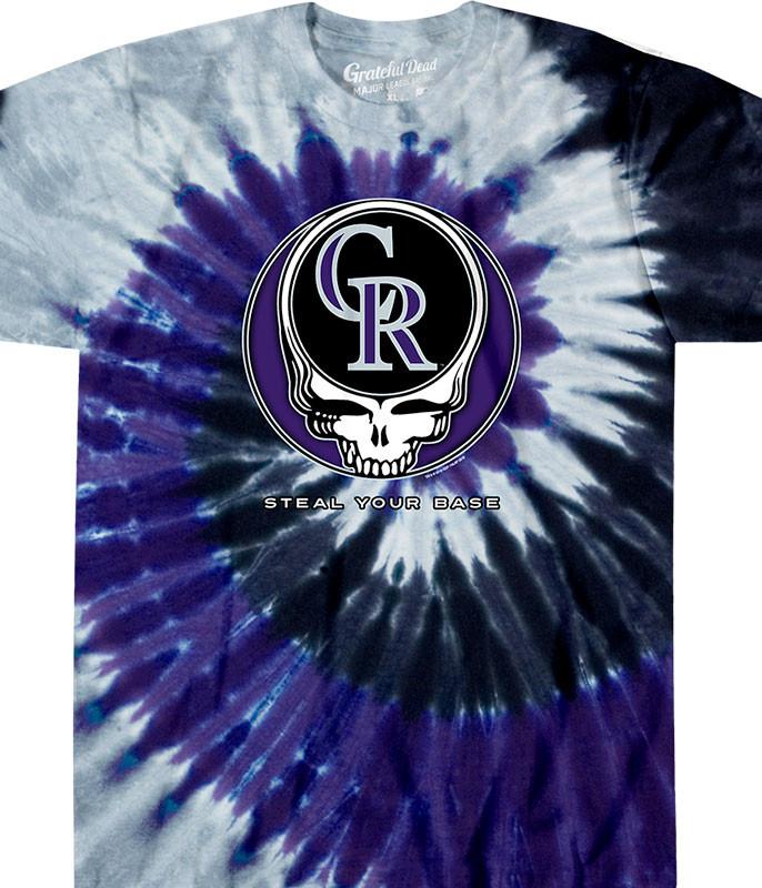 MLB Colorado Rockies GD Steal Your Base Tie-Dye T-Shirt Tee Liquid Blue
