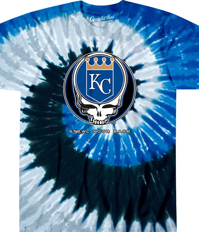 MLB Kansas City Royals GD Steal Your Base Tie-Dye T-Shirt Tee Liquid Blue