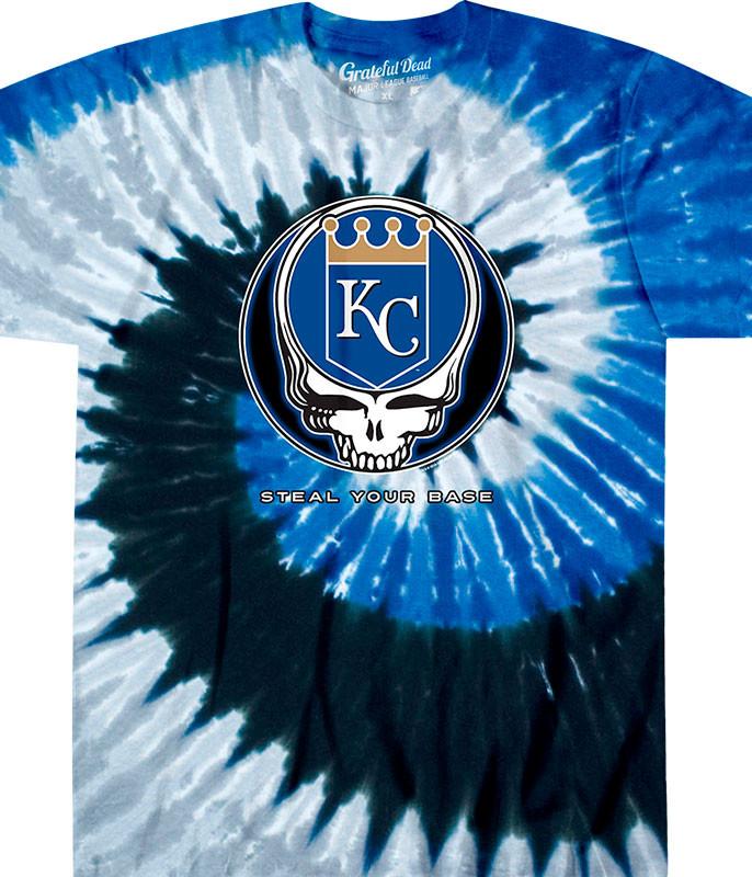 MLB Kansas City Royals GD Steal Your Base Tie-Dye T-Shirt Tee Liquid Blue