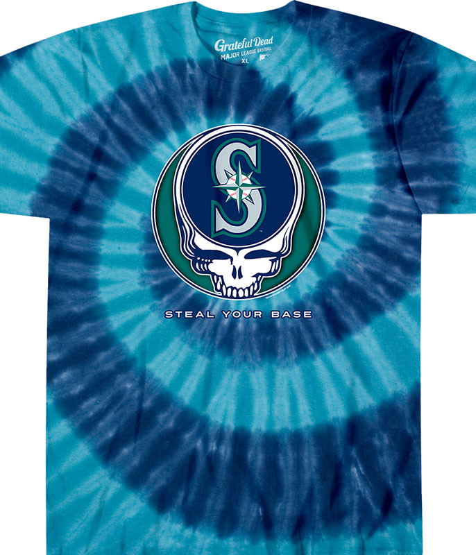 MLB Seattle Mariners GD Steal Your Base Tie-Dye T-Shirt Tee Liquid Blue