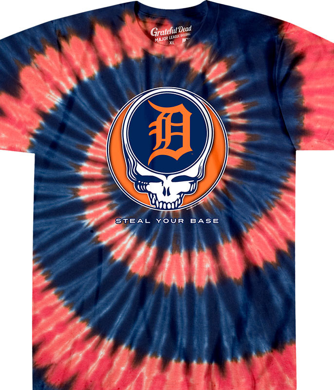 MLB Detroit Tigers GD Steal Your Base Tie-Dye T-Shirt Tee Liquid Blue