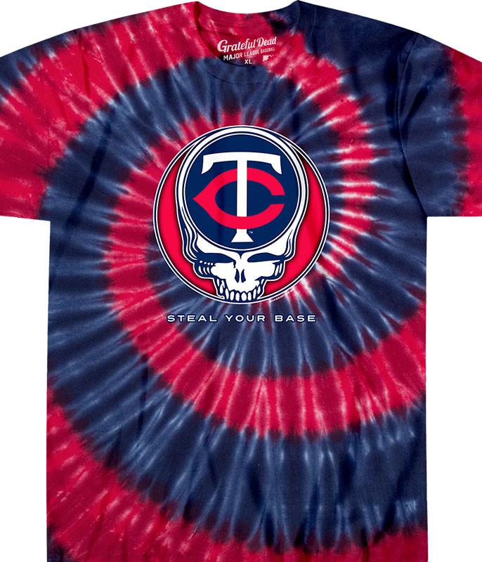 MLB Minnesota Twins GD Steal Your Base Tie-Dye T-Shirt Tee Liquid Blue