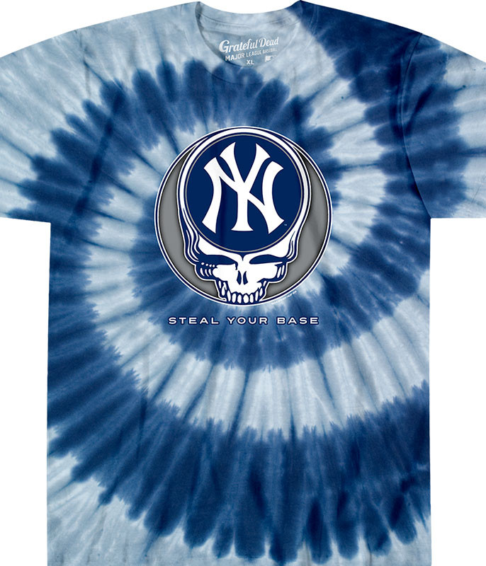 MLB New York Yankees GD Steal Your Base Tie-Dye T-Shirt Tee Liquid Blue