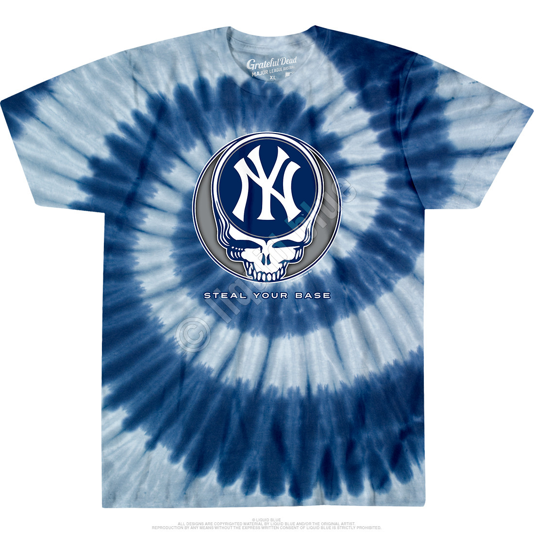 381848fa2ca MLB New York Yankees GD Steal Your Base Tie-Dye T-Shirt Tee Liquid Blue