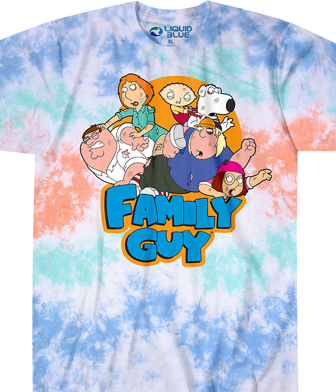 Family Guy Griffin Family Tussle Tie-Dye T-Shirt Tee Liquid Blue