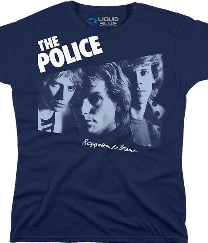 The Police Regatta De Blanc Navy Womens Long Length T-Shirt Tee Liquid Blue