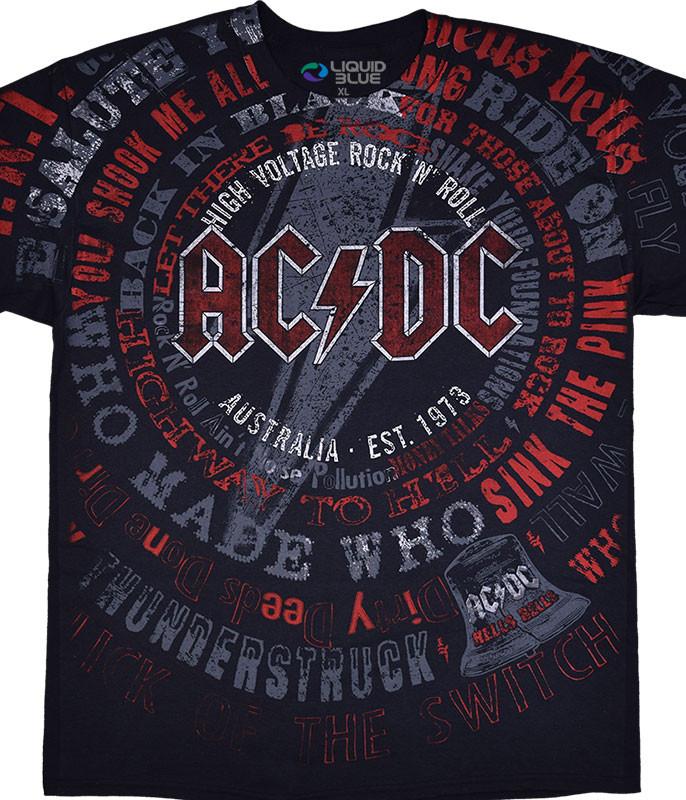 AC/DC Songs Black T-Shirt