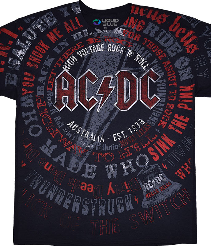 AC/DC Songs Black T-Shirt Tee Liquid Blue