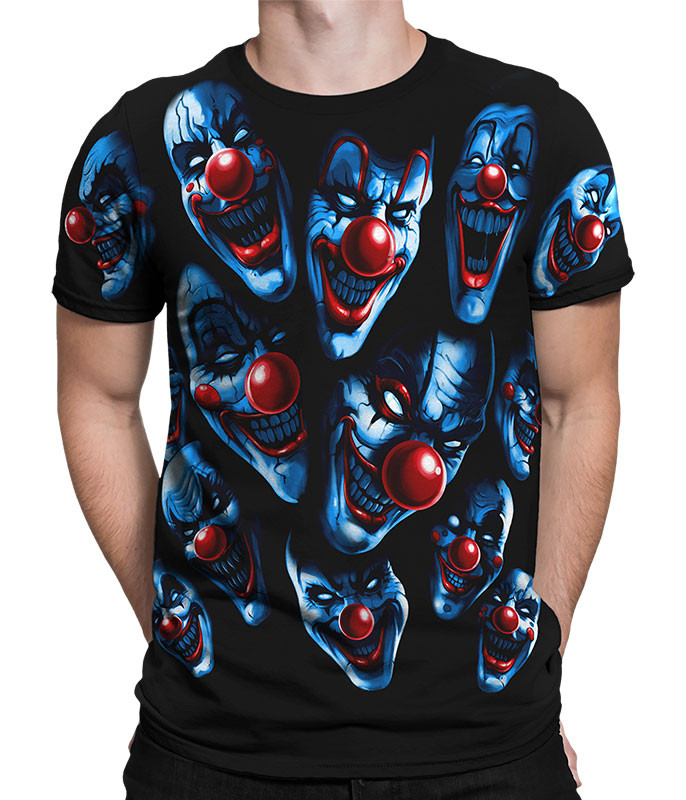 Dark Fantasy All Over Clowns Black T-Shirt Tee Liquid Blue