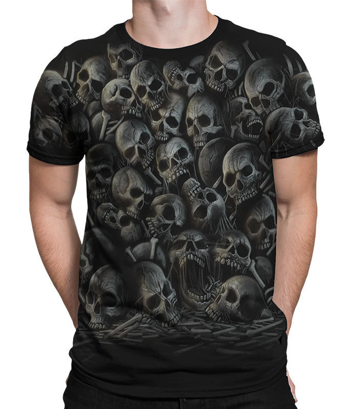 Skulls All Over Skulls Black T-Shirt Tee Liquid Blue