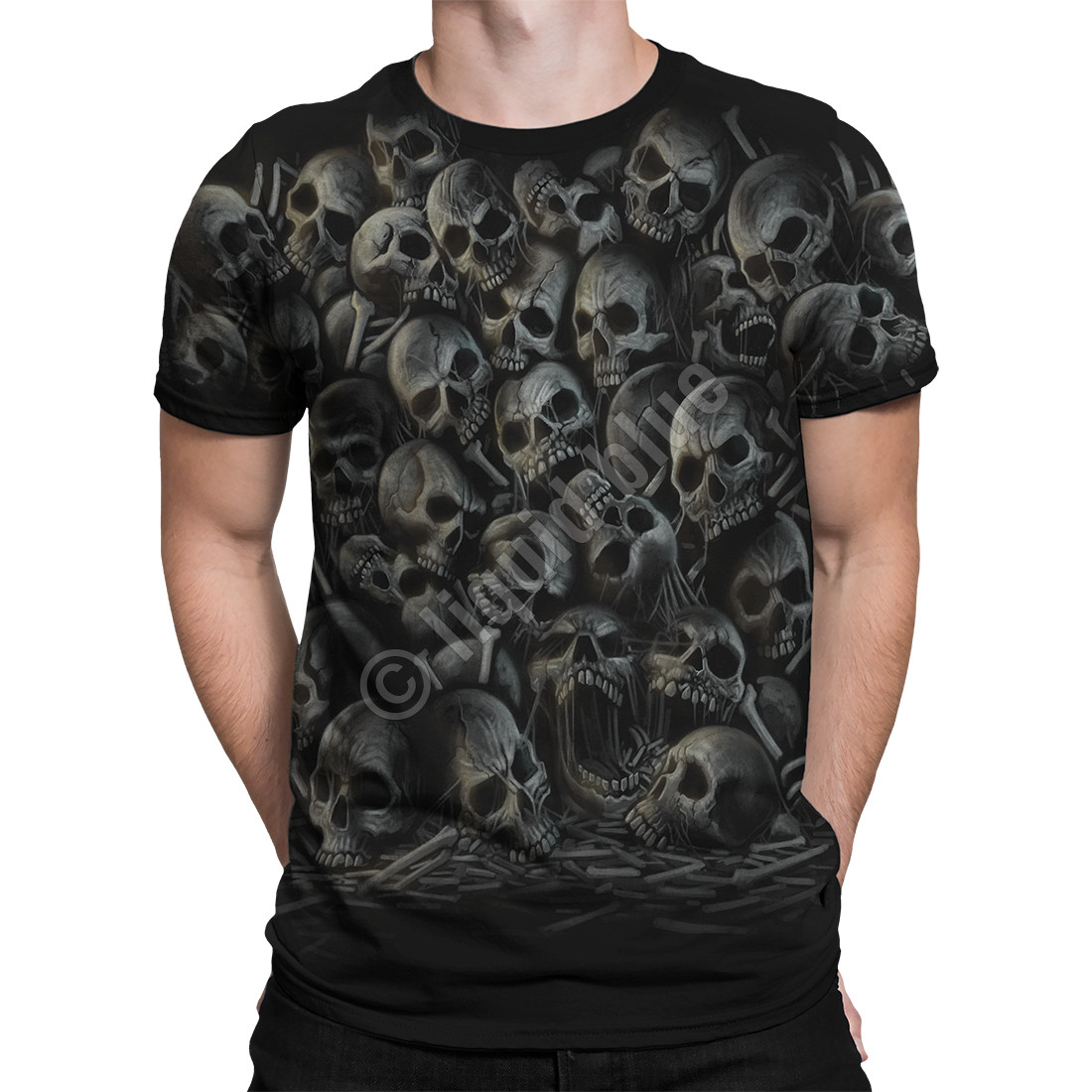 All Over Skulls Black T-Shirt