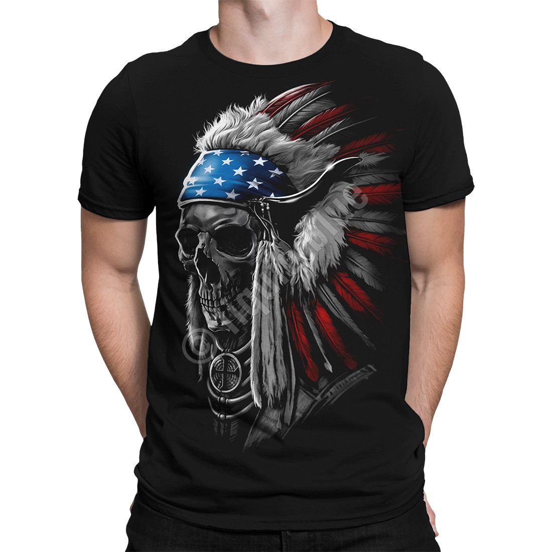 USA Chief Skull Black T-Shirt