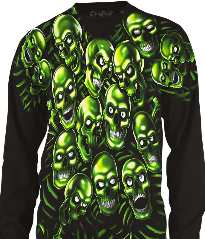 Skull Pile Black Long Sleeve T-Shirt