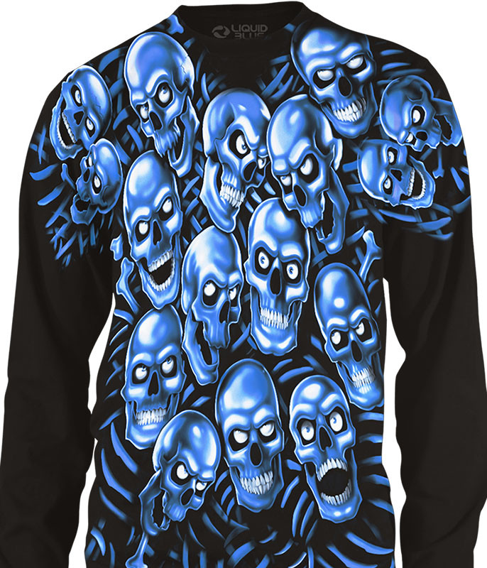 Skull Pile Blue Black Long Sleeve T-Shirt Tee Liquid Blue