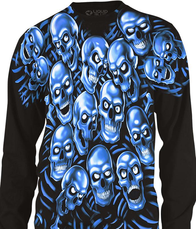Skull Pile Blue Black Long Sleeve T-Shirt Tee Liquid Blue