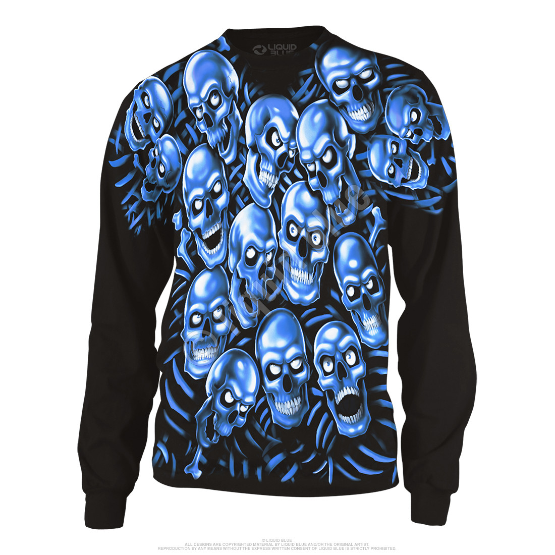 5e2dcc3f4b1 Skull Pile Blue Black Long Sleeve T-Shirt Tee Liquid Blue