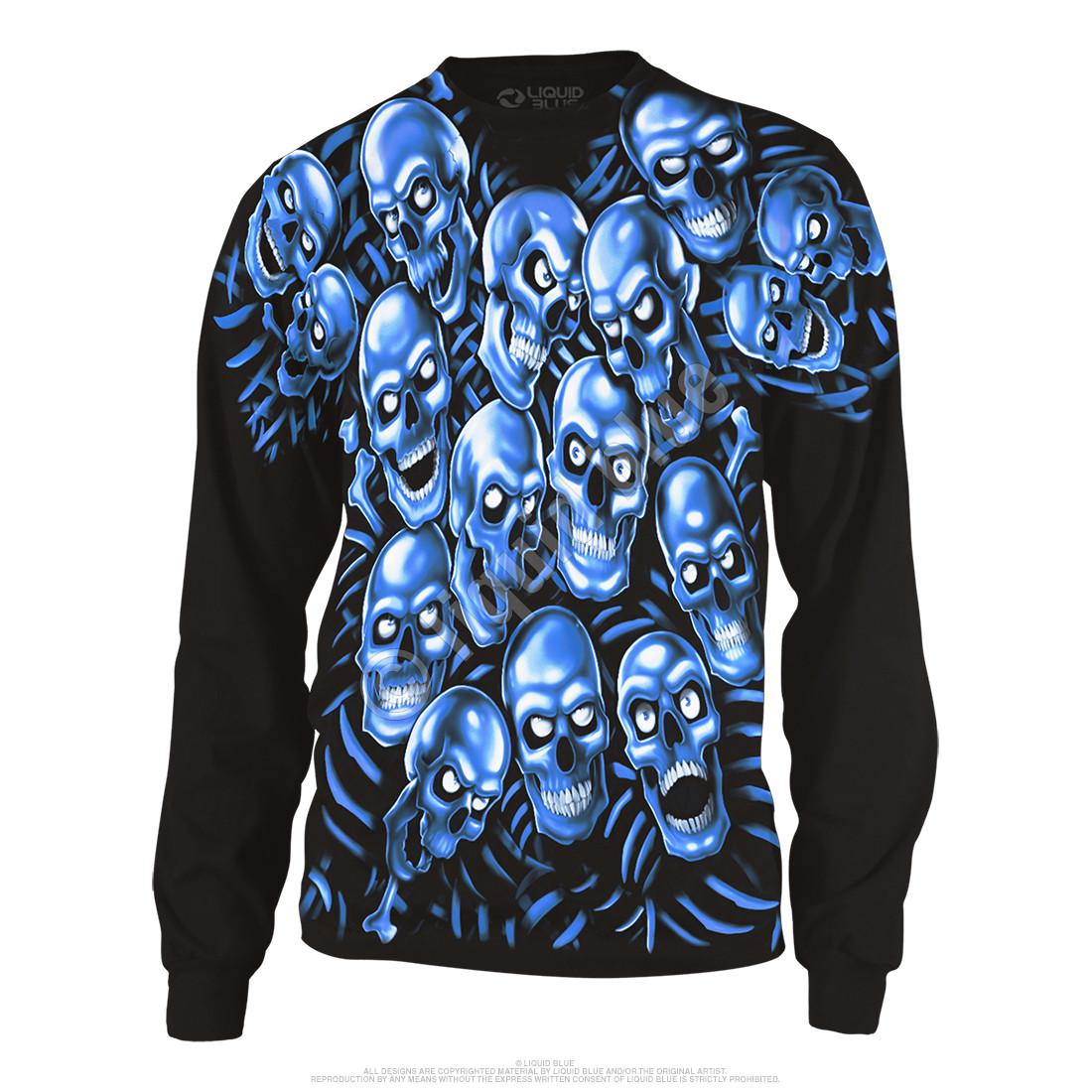 Skull Pile Blue Black Long Sleeve T-Shirt