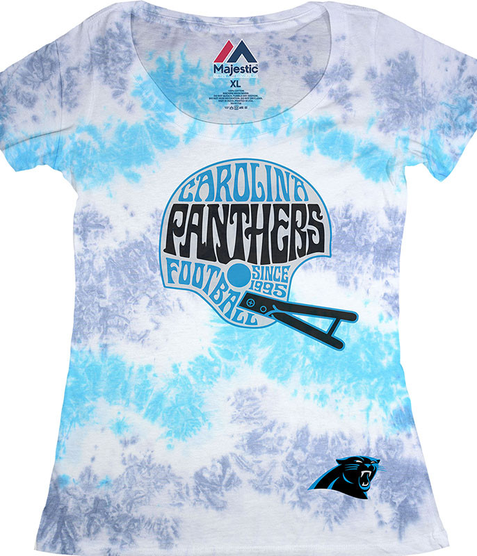 NFL Carolina Panthers Vintage Helmet Womens Long Length Tie-Dye T-Shirt Tee Liquid Blue