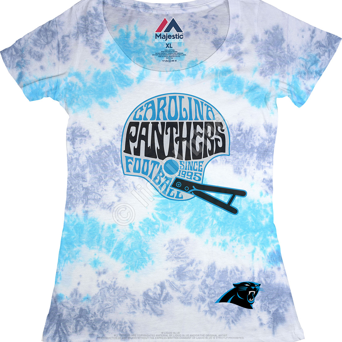 Carolina Panthers Vintage Helmet Womens Long Length Tie-Dye T-Shirt