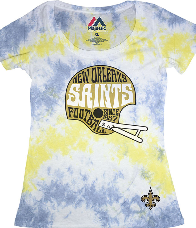 NEW ORLEANS SAINTS VINTAGE HELMET WOMENS LONG LENGTH TIE-DYE T-SHIRT