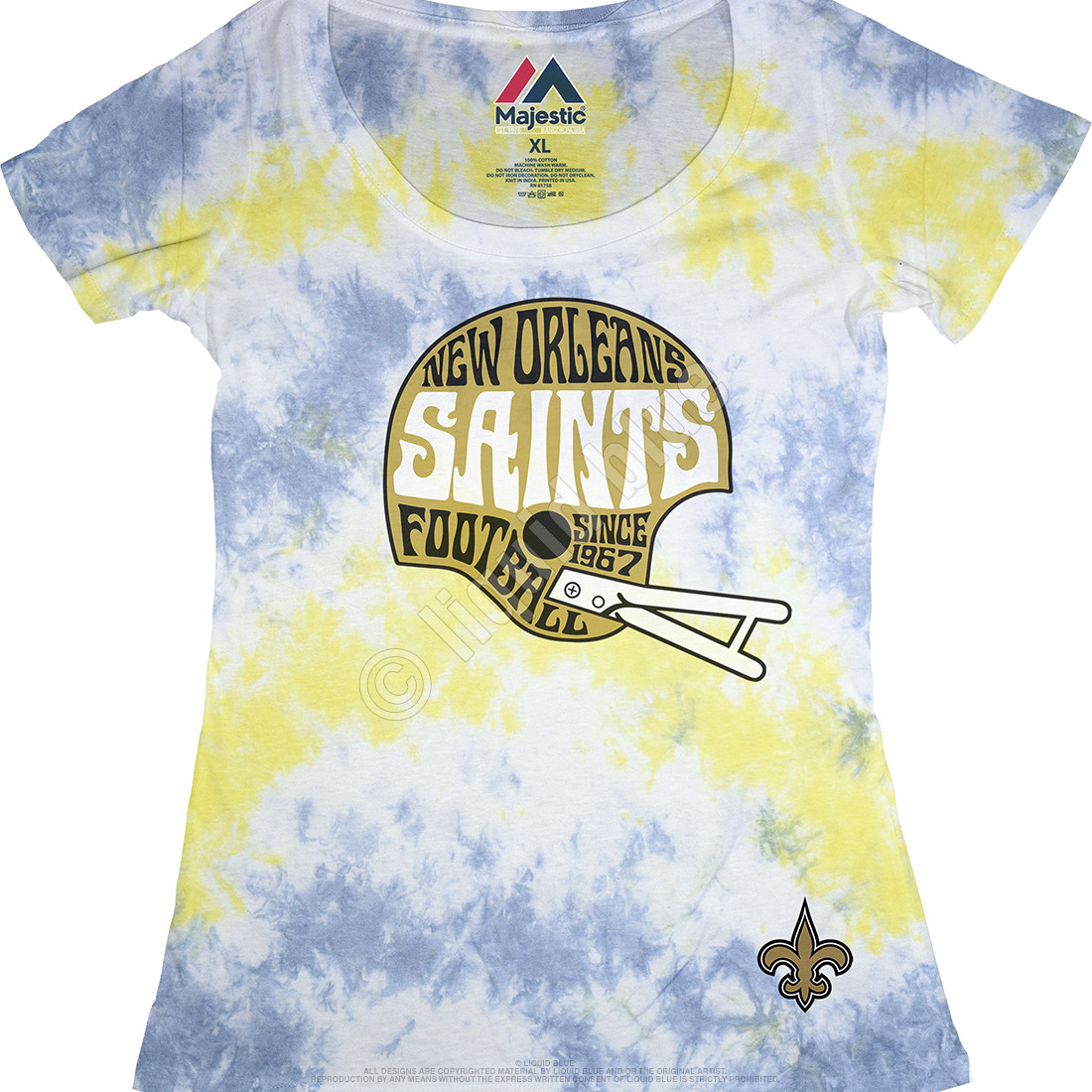 9418f4b0c NFL New Orleans Saints Vintage Helmet Womens Long Length Tie-Dye T ...