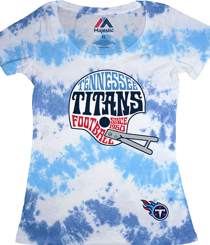 NFL Tennessee Titans Vintage Helmet Womens Long Length Tie-Dye T-Shirt Tee Liquid Blue