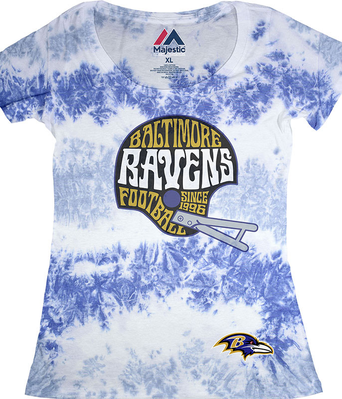 BALTIMORE RAVENS VINTAGE HELMET WOMENS LONG LENGTH TIE-DYE T-SHIRT