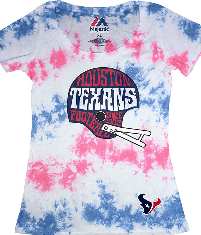 HOUSTON TEXANS VINTAGE HELMET WOMENS LONG LENGTH TIE-DYE T-SHIRT